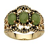 Oval Genuine Green Jade Antiqued 14k Yellow Gold-Plated 3-Stone Filigree Ring Size 10
