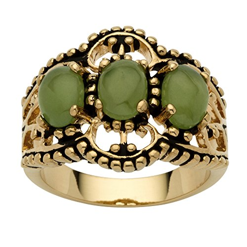 (Palm Beach Jewelry Oval Genuine Green Jade Antiqued 14k Yellow Gold-Plated 3-Stone Filigree Ring Size 10)
