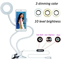 Velouer Selfie Ring Light (3 Color 10 brightness) Clip Cell Phone Holder for Live Stream,Video Chat,360 Rotating Long Arms Lazy Bracket for iphone 7,6/plus,Samsung,HTC,LG,HUAWEI and Others White