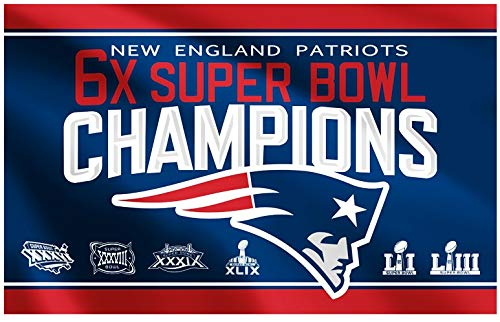 LEMOISTARS NFL New England Patriots 6-Time Super Bowl 3x5ft Banner Champion Flag -