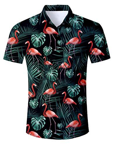 Cutemefy Men's Flamingo Aloha Shirt Cotton Casual Shirt Hawaiian Tropical Beach Shirt Large