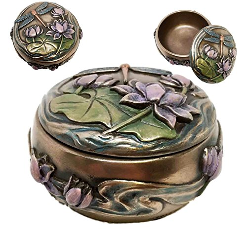 Dragonfly Flitting Lily Over The Pond Round Jewelry Box Trinket Keepsake Figure