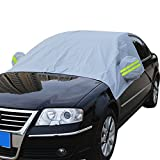 Windshield Snow Cover Car Protection Sun Shade Dust Ice Frost Wind Proof Wipers Protector with Bungee Straps Hooks & Reflective Warning Bar on Mirror & Storage Pouch Universal for SUV Most Vehicles