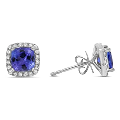 b48a621f2ed7c7 Image Unavailable. Image not available for. Color: 1.20Ctw 14K White Gold  Finish Cushion Cut Tanzanite CZ Halo Women Stud Earring