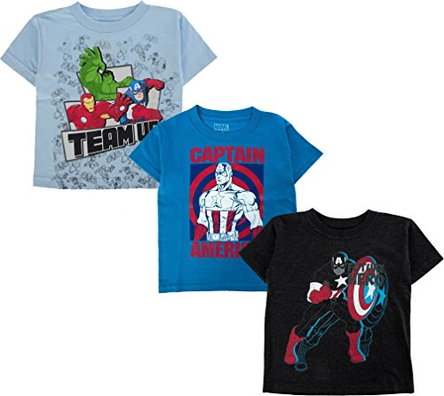 Marvel Boy's 3 Pack Captain America Avengers Superhero Logo T-Shirts Avengers