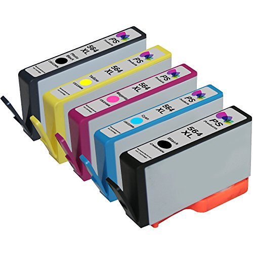 PS Products ™ Set of 5 Reman Ink Cartridge Replacements for HP 564XL / 564 High Yield XL: 1 Black, 1 Photo Black, 1 Cyan, 1 Magenta, 1 Yellow (Show ()