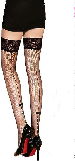 PrettyLoveHose Bas R/ésille Sublime Noir Lacet Noeud Noir, Rouge