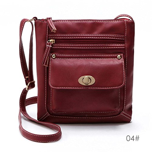 Women Lady PU Leather Handbag Shoulder Bag Tote Purse Messenger Hobo Satchel Bag, With two zipper compartments and one magnetic twist button closure pocket (Darh - Burberry Michael