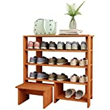 Jerry & Maggie - 4 Tier Wood MDF Solid Shelf Shoe Rack with One Footstool/Shoe Storage Shelves Free Standing Flat Shoe Racks Classic Style -100% Multi Function Shelf Organizer - Natural Wood Tone