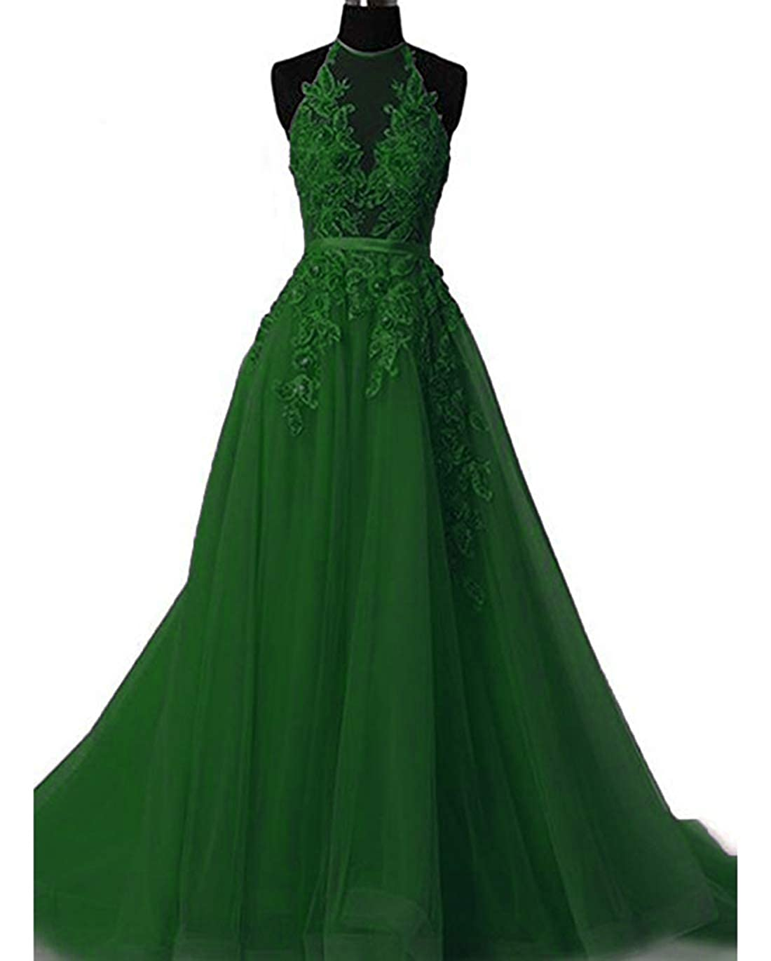 Green olise bridal Sexy Women's Halter Prom Dresses Long 2019 Appliques Backless Evening Fomral Gowns Real Photo