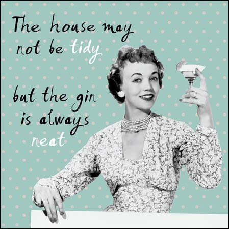 House Not Tidy Gin Always Neat Retro Humour Birthday Card Funny Greeting Cards