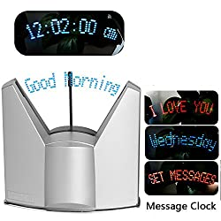 BEST4UBUY LED Dynamic Display Programmable Message Clock (Silver)