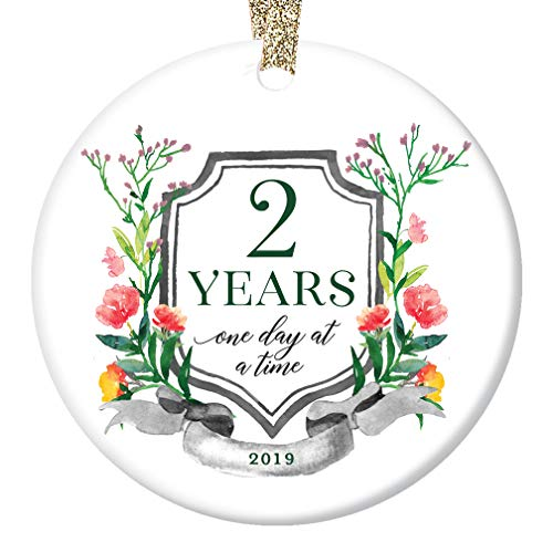 Two 2 Years Clean & Sober Ornament Christmas 2019 One Day at a Time 2nd Anniversary Sobriety Ceramic Collectible Holiday Keepsake Man Woman Recovery 3