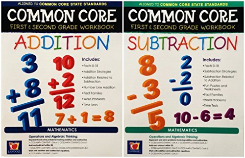 Grade Math Books 1st (Landoll Common Core Addition and Subtraction, First and Second Grade Workbooks, 2-book Set)