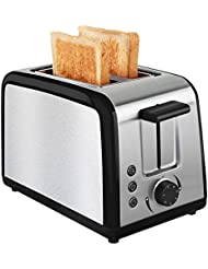 Toaster 2 Slice Warming Rack Brushed Stainless Steel for Breakfast Bread Toasters Defrost Reheat Cancel Button Removable Crumb Tray By KEEMO