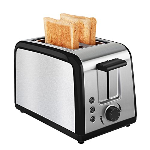 Toaster 2 Slice Warming Rack Brushed Stainless Steel for Breakfast Wide Slot Bread Toasters Best Rated Cool Touch Has Defrost Reheat Cancel Button Removable Crumb Tray By KEEMO