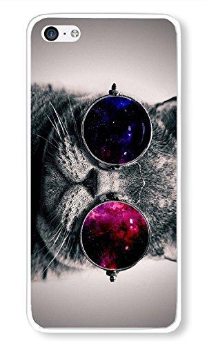 iPhone 5C Case Hisper Cat With Galaxy Sunglasses Theme Phone Case Custom White Polycarbonate Hard Case for Apple iPhone - Sunglasses Fabulous Cat