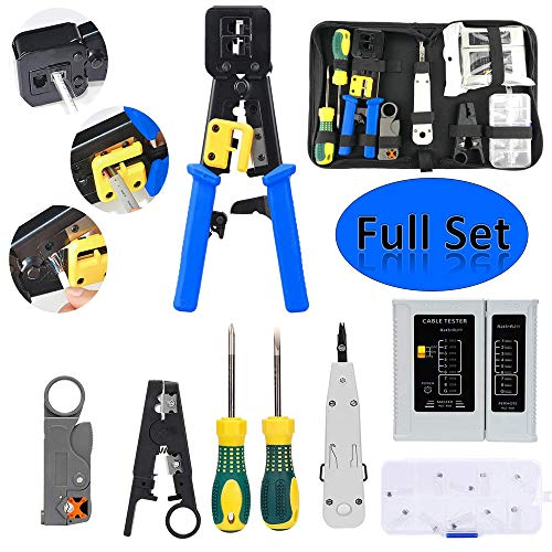 POLIFE Network Tool Kit Set, Cable Tester Repair Tools Wire Stripping Cutter, Coax Crimper Plug Crimping, Punch Down RJ11 RJ45 Cat5 Cat6 Wire Detector Stripper, Good for Testing Internet (Full Sets) ()