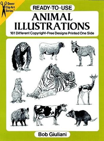 Ready-to-Use Animal Illustrations: 161 Different Copyright-Free Designs Printed One Side (Clip-Art)