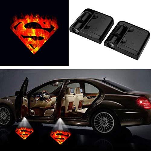 2 Pcs 3D Fire Superman Ghost Shadow Emblems Wireless Door Sensor Lights, No DrillingLed Laser Door Shadow Light Welcome Projector Lamps Fits Ford, Audi, VW, Dodge, Toyota, Honda -