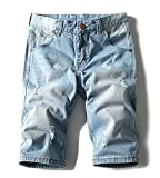 JoofEric Men's Fashion Ditressed Ripped Washed Denim Shorts Jean Shorts (32, Y66-Light Blue)