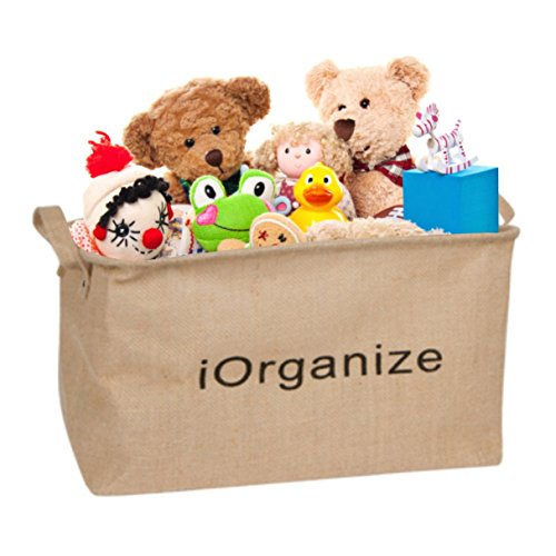 (i-Organize Collapsible Jute Storage Basket | Large Eco-Friendly Tote for Storing Kids Toys, Childrens Books, Baby Clothing & Pet Toys | Organize Children Toy Rooms - Portable Car Trunk Organizer)