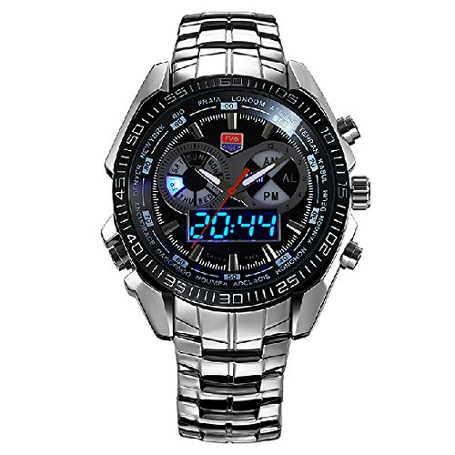 Amazon.com: TVG 468 Men 3 Dial LED Display Analog-Digital Military Wrist Watch: Watches
