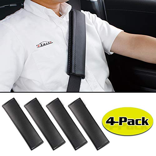 - GAMPRO 4-Pack Black Carbon Fiber Car Seat Belt Pad Cover, Soft Car Safety Seat Belt Strap Shoulder Pad for Adults and Children,Useful Shoulder Suitable for Backpack, Backpack, Shoulder Bag(4-Pack)