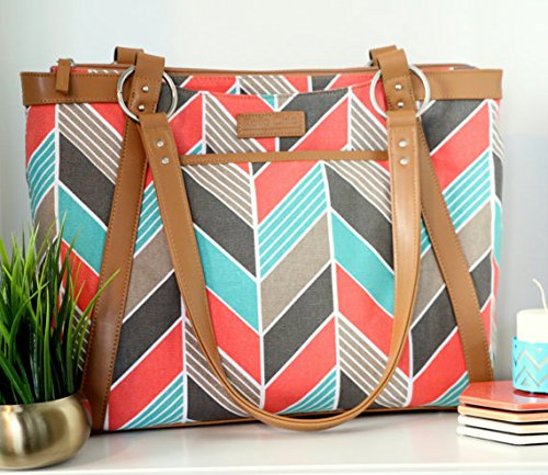 kailo-chic-casual-154-laptop-tote-coral-and-turquoise-chevron