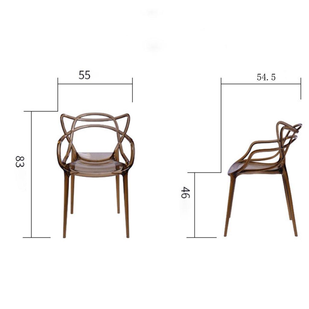 MXueei apparatbas ZfgG genomskinlig stol kristallstol plast ryggstöd datorstol vuxen konferensstol ledig modern minimalistisk kreativ plast matstol (färg: Klar) Brun