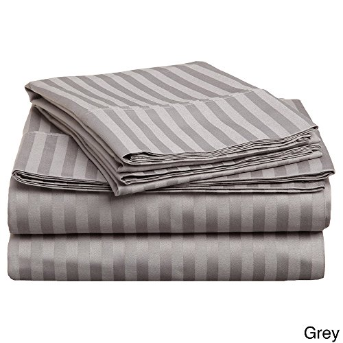 Delray 600 Thread Count 6 Piece Queen Size Sheet Set in Grey Stripe Delray Stripe