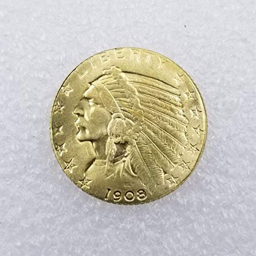 WuTing 1908 Antique US Commemorative Old Coin -Great Indian Head Coins Brilliant Uncirculated Antique Eagle Coins - Deeply Miss Our Motherland Coins Great American Coin (Indian Gold Coin)