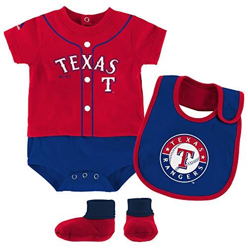 Outerstuff MLB Newborn Infants Tiny Player Creeper, Bib, Bootie Set (0/3 Months, Texas Rangers)