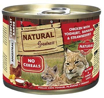 Natural Greatness Comida Húmeda para Gatos de Pollo con Yogur, Plátano y Fresas. Pack de 6 Unidades. 200 gr Cada Lata: Amazon.es: Productos para mascotas
