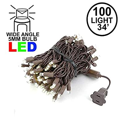 Novelty Lights 100 Light Warm White LED Christmas Mini String Light Set, UL Listed Indoor/Outdoor, Brown Wire, 34 Feet