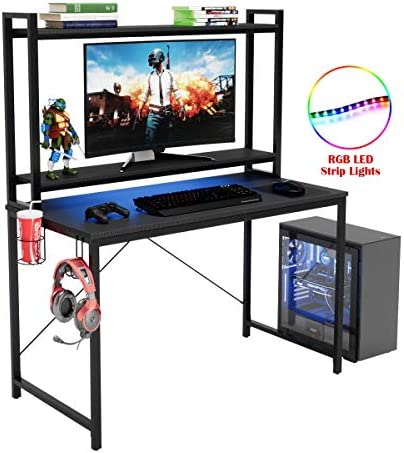 Bestier Home Computer Desk with Hutch and Bookshelf,47 inch Modern Study Writing Desk,Ergonomic Adjustable Shelves with RGB LED Lights,Gaming Desk Workstation for Home Office Student Dormitory