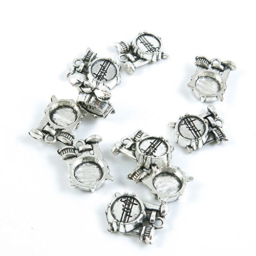 Price per 5 Pieces Antique Silver Tone Jewelry Making Charms Supply F3GB8 Drum Set
