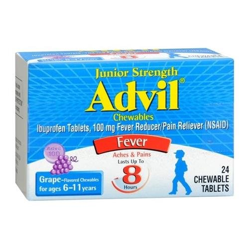 - Advil Junior Strength Ibuprofen Fever Reducer/Pain Reliever Grape Flavored 100mg Chewable Tablets, 24ct - Buy Packs and SAVE (Pack of 3)