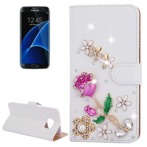 Encrusted Rose - (#52) For compatible with Galaxy S7 / G930 Diamond Encrusted Rose Pattern Flip Leather Case with Holder & Card Slots