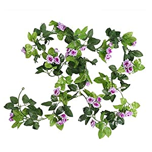 Meiliy 7.8ft Artificial Silk Rose Flower Ivy Vine Green Leaf Hanging Foliage Simulation Garland for Wedding Party Home Garden Wall Decoration 22
