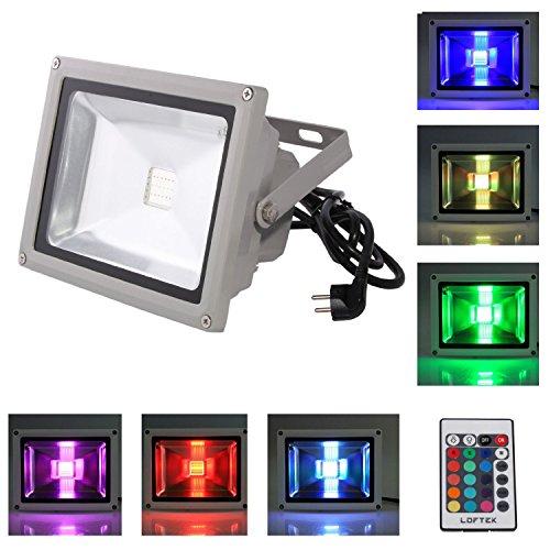 LOFTEK® wasserdichtes LED Flutlicht Strahler 20W inkl. Speicherfunktion - 16 verschiedene Farben
