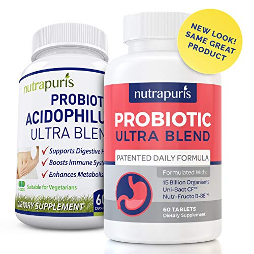 Best Patented Probiotic Ultra Blend – 15 Billion CFU/g – For Digestion Issues – Diarrhea, Irritable Bowel Syndrome IBS, and Bloating – Dairy Free FOS for Women and Men – No Refrigeration Needed Review