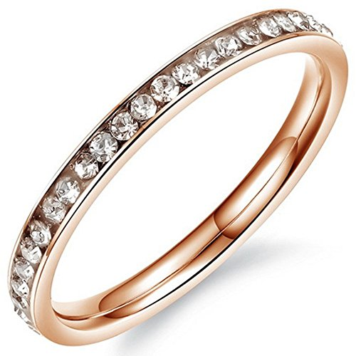Womens 2mm Titanium Stainless Steel Channel Set CZ Inlay Rose Gold Wedding Ring Engagement Band Size 4 ()