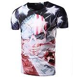 American Flag Mens 3D Skull USA Round Neck US Short Sleeve Shirts XL