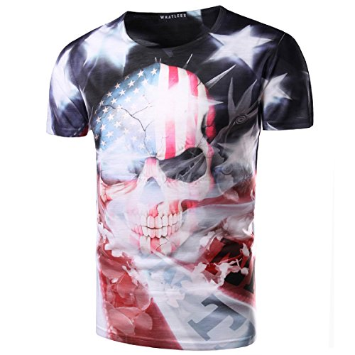 American Flag Mens 3D Skull USA Round Neck US Short Sleeve Shirts M