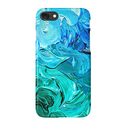 uCOLOR Watercolor Blue Turquoise Case for iPhone 6s 6 iPhone 7/8 Cute Case Soft TPU Protective Case for iPhone 6S/6/7/8 (4.7