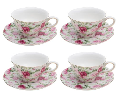 Chintz Tea Set - Gracie China Rose Chintz Porcelain 7-Ounce Tea Cup and Saucer Set of 4, Pink Summer Rose