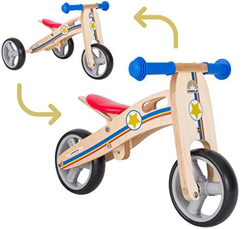 BIKESTAR 2 in 1 Bicicleta sin Pedales Madera para niños y niñas Bici Ajustable 7 Pulgadas | Bicicleta y Triciclo Mini a Partir de 1-1