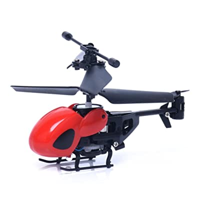 RC Helicopter, Lookatool RC 2CH Mini rc helicopter Radio Remote Control Aircraft Micro 2 Channel, Red: Toys & Games