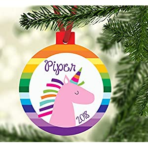 Rainbow Unicorn Personalized Christmas Ornament, Girl Unicorn Name Ornament for 2018
